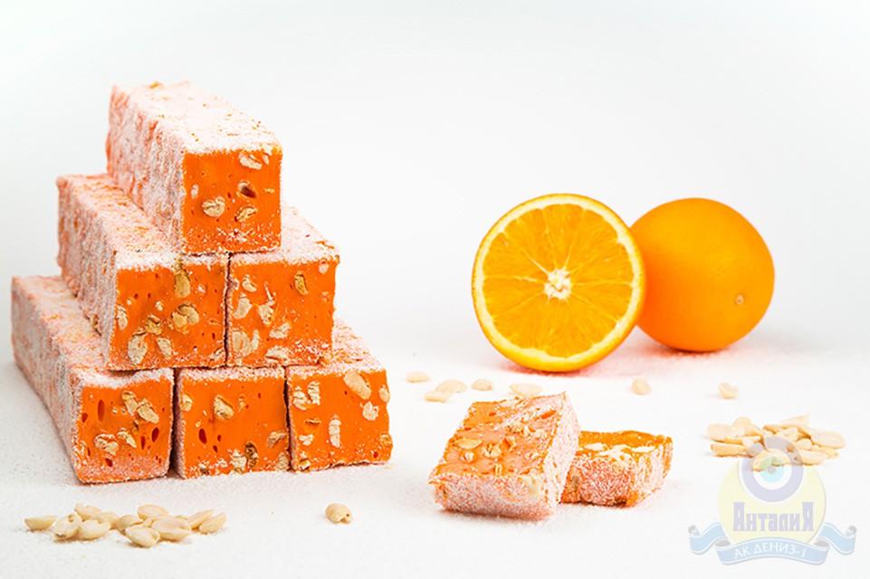 Брусковый лукум «Гарем» апельсиновый с арахисом